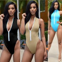 Maillot De Bain Une Piece Push Up High Neck Swim Front Zippe...