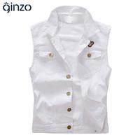 Toptan-erkek rahat beyaz ince kot yelek erkek moda ince giyim tank top ücretsiz kargo