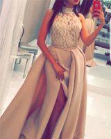 Yoasef aljasti sirena larga vestidos de fiesta largo halter vea a través de cuentas de encaje altas silencias árabes Dubai Overskirts Evening Wors Formal 2021