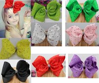 8inch JOJO hair bow Grosgrain Ribbon Rhinestone Bow With Cli...
