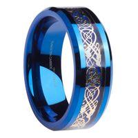 퀸 즈 약혼 반지 8mm 블루 텅스텐 반지 골드 켈트 드래곤 블루 탄소 섬유 인레이 결혼 기념일 반지 커플 쥬얼리에 대한