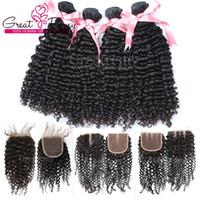 Venta de Año Nuevo !! Compre 4 piezas Virgin Brazilian Bundles Hair rizado Obtenga el cierre delantero de encaje de 1 unid (4 * 4) parte libre / parte media / 3 vías