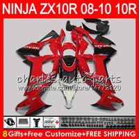 8Gifts 23Colors Body For KAWASAKI NINJA ZX 10 R ZX10R 08 09 10 47HM9 red black ZX 10R ZX1000 C ZX1000C ZX-10R 2008 2009 2010 Fairing kit