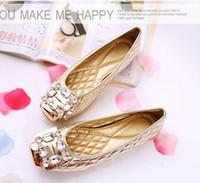 النساء الأحذية الفم الضحلة حجر الراين ساحة أصابع الأحذية واحدة الفتيات شقة متعطل مضخات دوغ الأحذية النسائية مضخات كبيرة الحجم