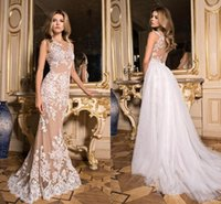 Champagne Mermaid Wedding Dresses With Detachable Skirt Whit...