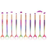10pcs / set 아이 메이크업 브러쉬 세트 머메이드 핸들 디자인 블러쉬 파우더 아이 브로우 아이섀도 아이 라이너 아이 솔라 블로잉 코 팬 Make Up BrushA08