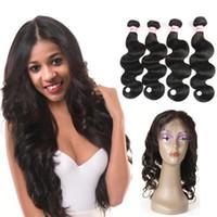 Frontal de 360 cordones con mechones Extensiones de cabello virgen brasileño liso / cuerpo Onda del cabello teje frontal y mechones de cabello humano