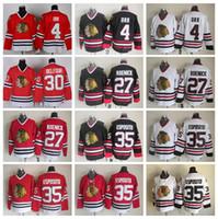 Chicago Blackhawks 4 Bobby Orr Jersey Men Hockey 35 Tony Esposito 27 Jeremy  Roenick 30 Ed Belfour CCM Black White Red e4e0544c6
