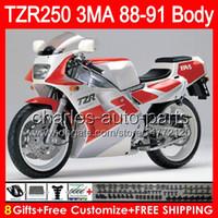 8gifts Body Pour YAMAHA TZR-250 3MA TZR250 88 89 90 91 87NO4 Argent brillant TZR250RR RS RR YPVS TZR 250 1988 1989 1990 1991 Noir Rouge Carénage
