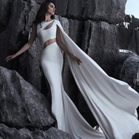 Special Design Split Mermaid Evening Dresses White Cutaway S...