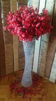 37 'Silindir Kaplı Uzun Boylu İnce Vazo / Krom Çelik Kristal Bel Çiçek Damar Bling Havlu Vazo