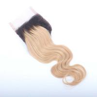 البرازيلي الشعر أومبير الدانتيل إغلاق الجسم موجة 3 الجزء # 1b / 27 2 لهجة أومبير لون الدانتيل إغلاق مع شعر الطفل