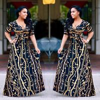 Плюс Размер African Мода Дизайн Традиционные платья макси осень Женщины Урожай цепи печати Длинные платья Sexy Элегантные платья партии