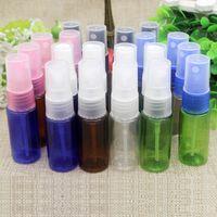 الشحن مجانا 100 قطع 15 ملليلتر واضح البني الأزرق الأخضر جولة الكتف قابلة لإعادة الاستخدام جوهر حاوية رذاذ أو العطور الجلد العناية زجاجات بلاستيكية فارغة