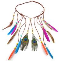 Handmade Ethnic Tribal Gypsy Turkish Rope Wood Beads Feather Hairband Hair Clip Hair Jewelry For Women & Girls Jewelry
