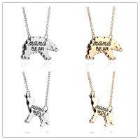 2017 Joyería Personalizada carta mamá lobo Mamá Oso Polar oso Animales Collares pendientes de Oro Madre de Plata Collar de Regalo del Día de Las Madres