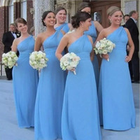 Cheap país dama dama dama de dama de honra um ombro longo chiffon luz azul empregada de honra os vestidos de honra chão comprimento feito sob encomenda vestido de convidado de casamento