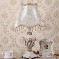 Con la paralume in tessuto Big Europe Style Style Light Lampada da tavolo Flower Art Decorative Scrivania per foyer Bedroom Cedeside