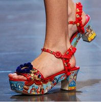 Luxury Women Platform Gladiator Sandals Bohemia Floral Print...