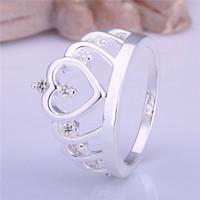 Beste geschenk ingelegd steen hart kroon vorm zilveren sieraden ring voor vrouwen WR407, mode witte edelsteen 925 zilveren trouwringen