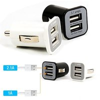 3.1A USAMS Dual Port USB Car Charger 5V 3100mah para iPhone IPAD Ipod Samsung HTC 200pcs / lot