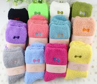 Fuzzy Socks Beautiful Embroidery Bow Design for Ladies Winte...