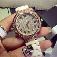 ¡¡Edición limitada!! Regalo del reloj de la boda vestido de diamantes relojes de lujo real de cerámica Correa de oro rosa pulsera de cuarzo para las damas de alta calidad!