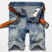 Wholesale- Men' s Distressed Jeans Shorts Straight Regul...