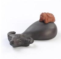 heißer Verkauf neue Ankunft schwarz lila Ton Handwerk chinesischen Tee Haustiere Hirte und Büffel Hause Ornamente T57