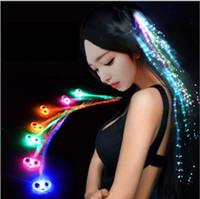 Flash Braid Colorful Flash Braid Luminous LED Hearwear Tocado Masquerade Festival Props Light Up Fibra óptica Pelo Pigtail Regalo de Navidad
