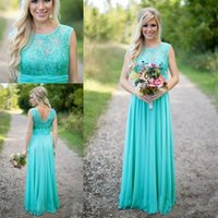 2018 Cheap Turquoise Lace Top Vestidos de dama de honra Scoop Decote Chiffon Country Style V Backless Long Maid Of Honor Dress for Wedding BA1513