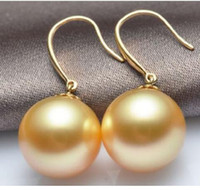 Beautiful 15- 16mm Gold South Sea Shell Pearl Earring 14K yel...
