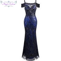 Anjo moda mulheres paillette spaghetti strap beleza bainha bola vestido de baile vestido formal vestido preto 220