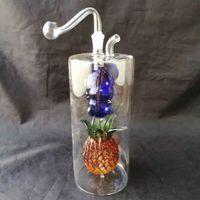 Accessori di bong di vetro colorato grande ananas waterahu, accessori di bong di vetro all'ingrosso, narghilé di vetro, tubo d'acqua fumo spedizione gratuita