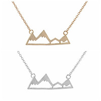 Moda dağ zirveleri kolye geometrik peyzaj karakter kolye kolye galvanik gümüş kaplama kolye toptan hediye için toptan