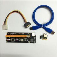 60 cm PCI-E PCIE PCI Express 1x a 16x Riser USB 3.0 Cable extensor USB 3.0 con SATA a 4pin IDE Molex Fuente de alimentación para BTC MINER MINER RIP