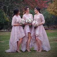2017 Stylish High Low Country Bridesmaids Dresses Appliques ...