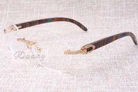 Chaleur et de haute qualité des lunettes de diamant de luxe T8100903 couleur de paon naturel des lunettes en bois les mode et nos verres Taille: 54-18-135mm