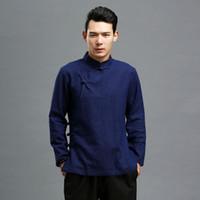 Wholesale- 2016 Spring Autumn Men Blouse Black Flax Blouse Traditional Chinese Clothing Long Sleeve Shirt Ethnic Blusas Masculina Chemise