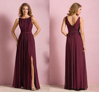 Burgundy Chiffon Elegant Long Bridesmaid Dresses Bateau Open...