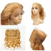 Honey Blonde # 27 Body Wave Bundles 3pcs Avec 360 Dentelle Fermeture Frontale 22.5 * 4 * 2 Bretelles Réglables Avec Des Cheveux De Bébé