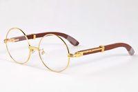 França paris moda marca design full frame e rimless rodada planície mirrir óculos óculos de sol homens clássico madeira búfalo círculo eyewear