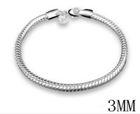 2017 Hot Sales 10st / Lot 3mm 8 inches Long 925 Silver Snake Charm Chain Armband 10g