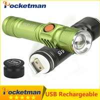 Portable Light mini USB flashlight CREE XM- L T6 LED torch re...