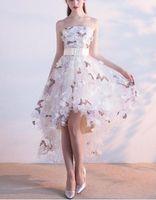 3D 꽃 높은 낮은 파티 드레스 strapless 활 벨트 손수 꽃 나비 인쇄 파티 가운 레이스 업 위로 사용자 정의 크기