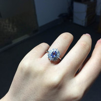 Vintage Engagement Wedding Ring for woman genuine bule tanza...