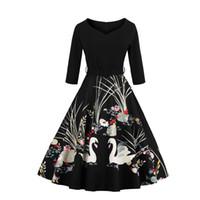 Новый горячий ретро печати платье с поясом плюс размер Лебедь V-образным вырезом 3/4 рукав мода и элегантный партии женщин бальные платья DHL