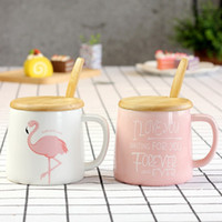 11OZ 330ml Pink White Flamingo Coffee Mug with Wooden Lid an...