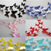 12 Pcs set PVC 3D DIY Butterfly Wall Stickers Home Decor Pos...