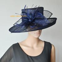 Marineblaues elegantes großes sinamay Hutkirchhut-Brauthut fascinator mit Strauß-Dorn für Hochzeit, Rennen, Schwarzes, Marineblau, heißes Rosa, Elfenbein, beige
